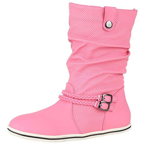 napoli-fashion Sportliche Damen Stiefeletten Stiefel Flache Boots High Low Top Damen Stiefeletten Pink 39 Jennika
