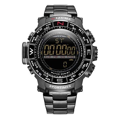 Armbanduhr, männliche Uhr täglich wasserdicht mit Edelstahl Uhrenarmband Legierung Kasten für Jungen Familien Freund Geschenk(Black Case+Black Dial)
