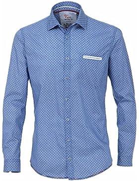 Venti Freizeithemd Extra Langer Arm 72 cm Herren Blau Gemustert