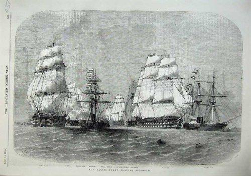 1855 Navi Wellington di Spithead Edimburgo della Flotta di Baltico par original old antique victorian print