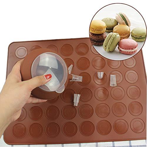Aidue set per macaron, 48 stampi e tappetini per macarons tappetino da forno in silicone e penna per decorare con 4 ugelli, marrone