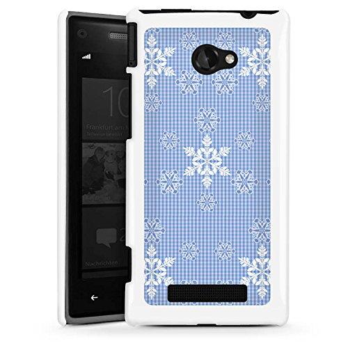 DeinDesign HTC Windows Phone 8X Hülle Schutz Hard Case Cover Schneeflocken Weiß Blau Muster