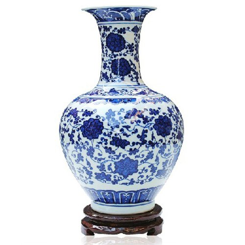 Ufingo Chinese Blue White Porcelain Flower Vase Porcelain Bone Hand