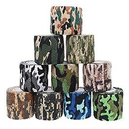 Sicai, 10 rotoli di nastro mimetico autoadesivo, in tessuto non tessuto, per uso esterno, 10 stili