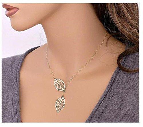 Tonsee 2015 Neu Mädchen-Frauen einfaches Metall doppelt Blatt Legierung Halsketten