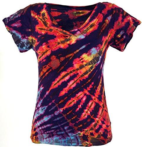 Guru-Shop Batik Hippie T-Shirt mit V-Auschnitt, Damen, Violett, Synthetisch, Size:38, Tops, T-Shirts, Shirts Alternative Bekleidung