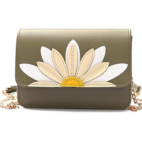 BZLine® Frauen Messenger Taschen Lotus Crossbody Schulter Handtasche Umhängetasche, 19cm*6cm*15cm Grün