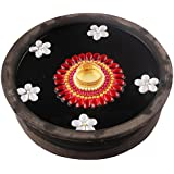 Bombay Haat Handcrafted Tealight Candle Holder / Floating Diya / Diwali Diya With 5 Preety Flowers For Home Décor And Diwali Gifting ( Red And White )