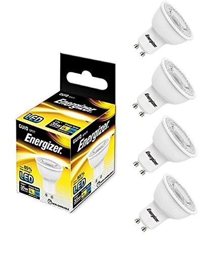 4x Energizer LED-Glühlampe GU10250lm Spot 3,6W = entspricht 35W Warm Weiß 3000K 36°