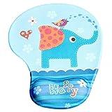 Lumanuby 1 Stück Weich Mauspad Klein Silikon handgelenkauflage Mausunterlage mit Elefant Bild 23*19*0.3cm Blau Farbe