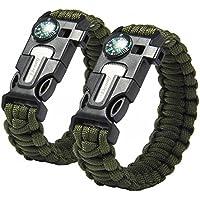 Bcony Verde Braccialetto Paracord Sopravvivenza corda con fischietto, pietra focaia raschietto avviamento di fuoco,2 pezzi