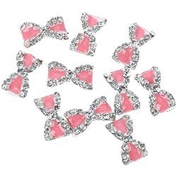 TOOGOO (R) 10 rhinestone del brillo lazo rosa 3D decoracion de unas arte de unas