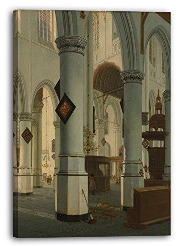 Hendrick van Vliet - Innenraum des Oude Kerk, Delft (1660), 60 x 80 cm (weitere Größen verfügbar), Leinwand auf Keilrahmen gespannt und fertig zum Aufhängen, hochwertiger Kunstdruck aus deutscher Produktion (Alte Meister bis Moderne Kunst).