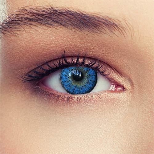 """2 Blaue Kontaktlinsen mit Stärke ozeanblaue natürlich wirkende Drei Monatslinsen, gut deckende Farbe + Gratis Behälter\""""Natural Aqua\"""" -3,50"""