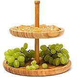 Relaxdays Présentoir étagère en bambou cuisine salle à manger 2 plateaux porte-fruits H:25 cm Ø: 25 cm rond, nature