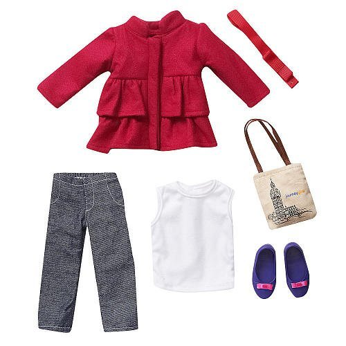 journey-girls-18-inch-doll-fashion-outfit-pink-pea-coat-with-white-tank-top-denim-pants-accessories-