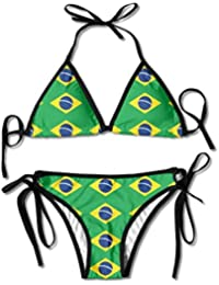 Hipiyoled Bikini para Mujer Conjunto Bandera de Brasil Ropa de Playa Ajustable