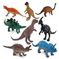 LU2000 Dinosaur Play Toy Plastic Figures, Assorted Dinosaurs Model Set of 8 Pcs for Lost World Playmat
