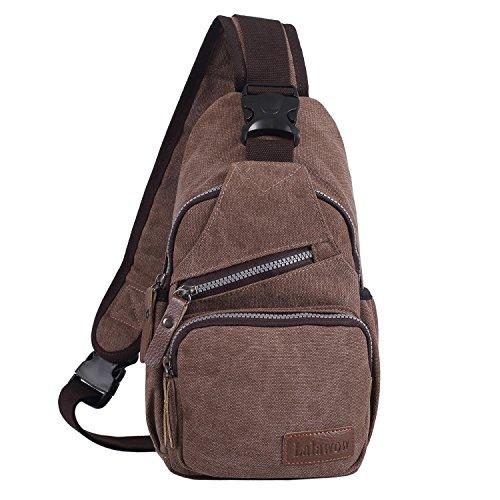 Lalawow Modische Canvas Sling Bag Brusttasche Schultertasche Umhängetasche Reisetasche Freizeittasche Crossbody Bag (Kaffee)