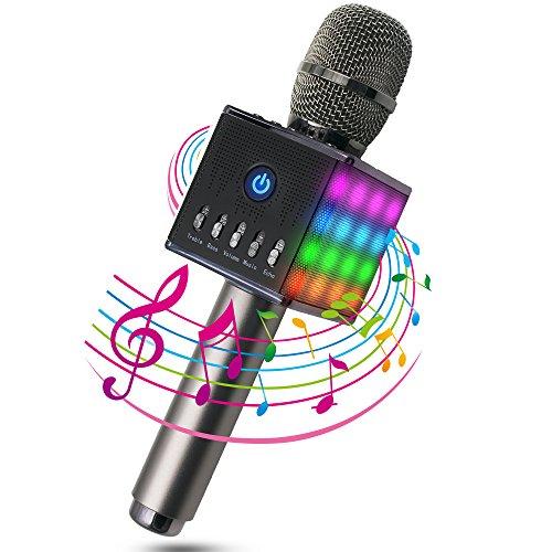 ERAY Karaoke Mikrofon, Bluetooth 4.1/Mit schönem Licht, Android /IOS, PC, Karaoke Mikrophon schönes Geschenk für Kinder, Ideal für Musik abspielen und singen drahtloses Karaoke Mikrofon