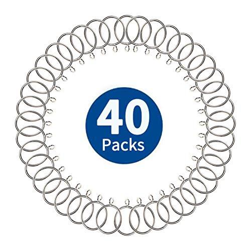 40 Stück Gardinenringe Silber, Vorhangringe aus Metall mit 38 mm Innendurchmesser, Gardinenstange Ringe für Gardinenstangen zum Aufhängen von Vorhängen