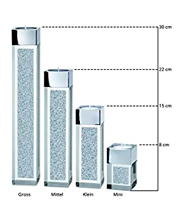 Moderner Teelichthalter Pylon mini mit SWAROVSKI ELEMENTS Kristallen / Besondere Tisch-Dekoration