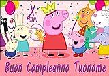 WFWD Cialda in Ostia per Torta Rettangolare Peppa Pig Personalizzata, George, cialde, ostie, Torte, Topper, Mis. 20x30 cm
