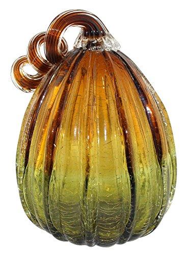 Starland Hand geblasen Zwei Ton Streifen Art Glass Kürbis Tisch Accent Home Dekoration für Fall Harvest, Danksagung Dekorieren, Bernstein & Grün, 19,1cm Höhe -