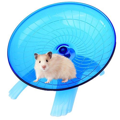 Petacc Laufteller Laufrad für Hamster Chinchilla Degu Hamster Laufrad Leise mit Edelstahl Kugellager und Formschön Kantengestaltung (Blau)
