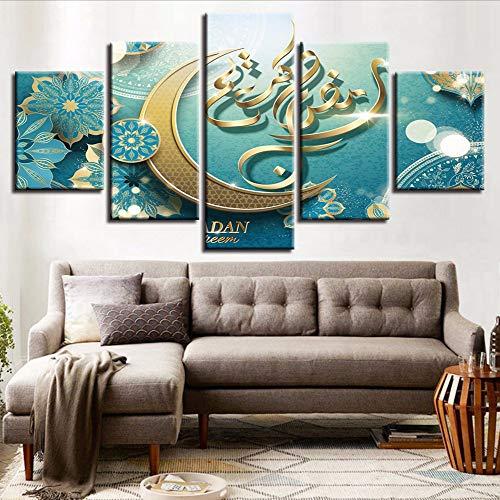 Fyyanm Hd Gedruckt Leinwand Poster Wohnzimmer Dekor Rahmen 5 Stücke Islam Allah Die Koran Mond Gemälde Muslim Bilder Modulare Wandkunst-20x35cmx220x45cmx220x55cm