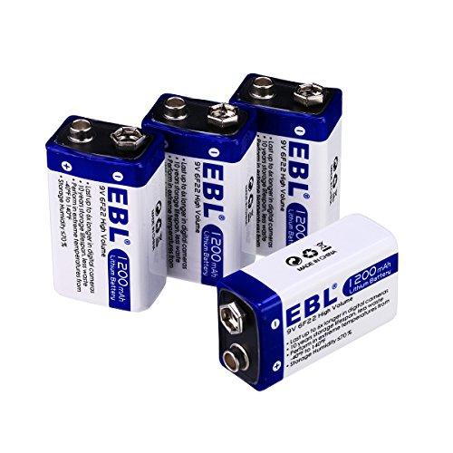 EBL Haltbarkeit 9V Block Batterie Lithium Einwegbatterie 4 Stück mit Aufbewahrungsbox