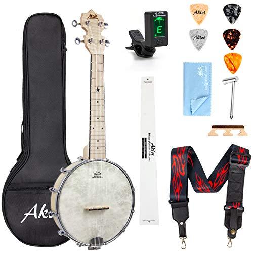 AKLOT Banjolele Ukelele banjo Concierto 23 pulgadas Remo Drumhead Open Back Maple Body 1:15 Sintonizador avanzado con varilla de armadura de dos vías