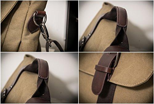 MANJH Schultertasche Herren Canvas PU Leder Umhängetasche Messenger Bag iPad Taschen Retro Segeltuch Handtaschen, Khaki 2-Khaki