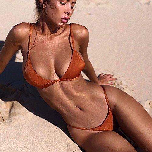 Donna Solido Sexy Push Up Imbottito bikini Halter Costumi Da Bagno Due Pezzi Costume Brasiliano Bikini Bottom Mare Swimwear Arancia