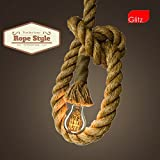 #8: Edison lamp Rope hanging/pendant Vintage industrial loft, E27 Holder, Decorative, Urban Retro nordic style, Beige color. 1.2 Meter with filament Lamp A19