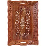 Crafts Haveli Handcrafted Wooden Serving Tray With Carving Jali Work Size 15X9.5 Inches