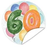 60. Geburtstag Aufkleber | 9,5cm groß | rund | inkl.Alles Gute - Postkarte | Zur Personalisierung von Geschenken