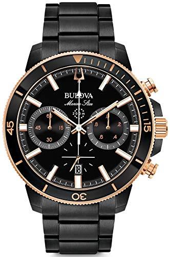 Bulova Herren Chronograph Quarz Uhr mit Edelstahl Armband 98B302 (Bulova Herren Edelstahl Uhr)