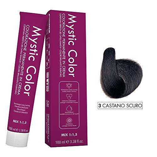 Mystic Color - Castano Scuro 3 - Colorazione Professionale Permanente in Crema con Olio di Argan e Calendula - Tinta per Capelli Long Lasting - 100ml