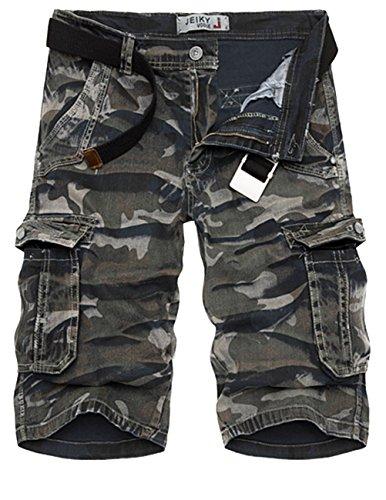 MENSCHWEAR Uomo Pantaloncini corti Bermuda Cargo short con tasconi laterali con cintura Camouflage-4