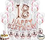 18th Birthday Decorations Birthday Party Supplies 18 Cake Topper Banner Confetti Balloons for her Silver Curtain Backdrop...
