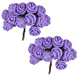 Colourful Hair Flowers Hair Accessories Set of 24 flowers (Purple)