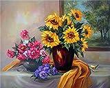YEESAM ART DIY Ölgemälde Malen nach Zahlen Erwachsene Kinder, Sonnenblume Bunte Blumen Zahlenmalerei ab 5 Öl Wandkunst (Sonnenblume, mit Rahmen)