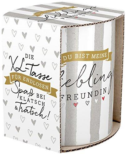 H :) ppylife 45435 XL-Tasse avec bandeau coloré cadeau petite amie préférée, 60 cl, Porcelaine, multicolore, 9,5 cm cm