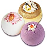 Badebomben Set, 3 Badekugeln Honig Biene, Eiscreme, Lavendel im Badeset, (3 x 160g)
