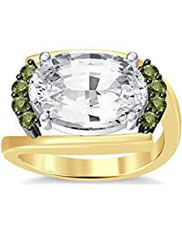 Silvernshine 4Ct Oval & Round Cut Sim Peridot Diamonds 18K Yellow Gold Plated Engagement Ring