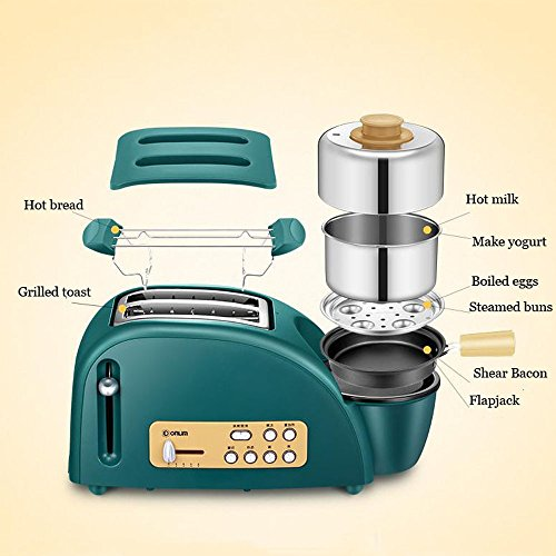 NQFL Toaster Green Home 2 Breakfast Toaster Multi-function Automatic Omelette Machine 5-speed Adjustment,Green-38*15*16cm