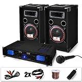 """DJ set """"DJ-14"""" impianto audio completo PA (2 casse AUNA diffusori 1000 Watt totali, 1 amplificatore Skytec finale di potenza, 1 microfono, cavi per collegamento)"""