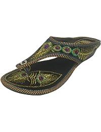 Chaussures Étape N Élégantes Womwn Jutti Mojari Chaussures À La Main Traditionnelle Punjabi, Couleur Or, Taille 41 Eu
