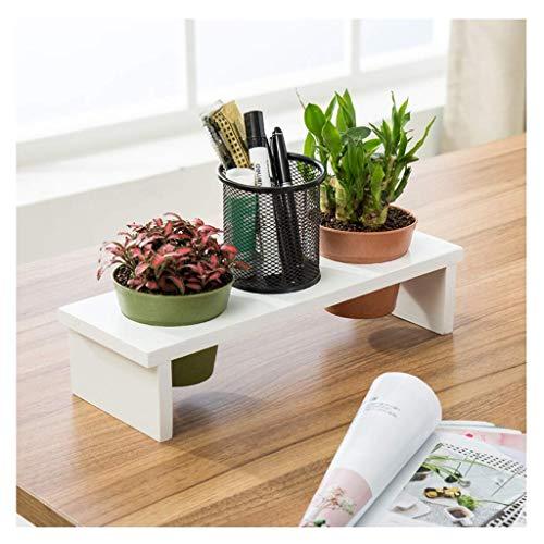 ZWJ Massivholz Desktop Blumenständer Büro Fensterbank Mini Speicher Lagerregal Topf Rack Kleine Pflanze Stand, Weiß (Bücherregal Cube Speicher)